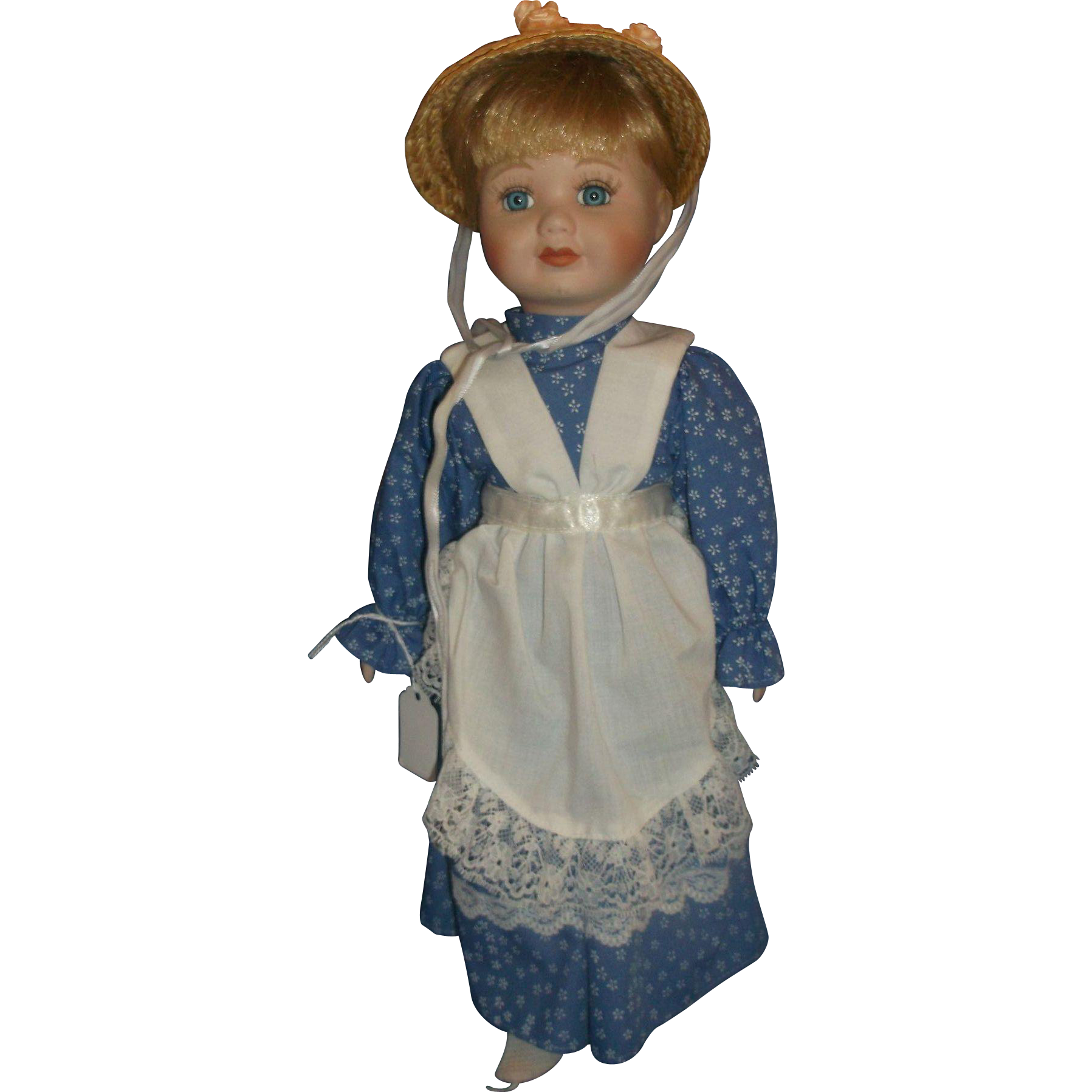 House of Lloyd Private Collection 1994 Porcelain Doll Blonde Hair Straw Bonnet Hat Blue Calico Dress 15 IN