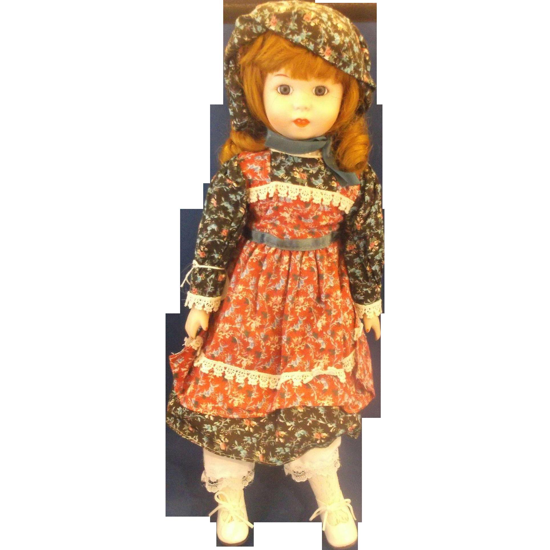 Heritage Mint Porcelain Doll 1989 Calico Dress Bonnet 16 IN