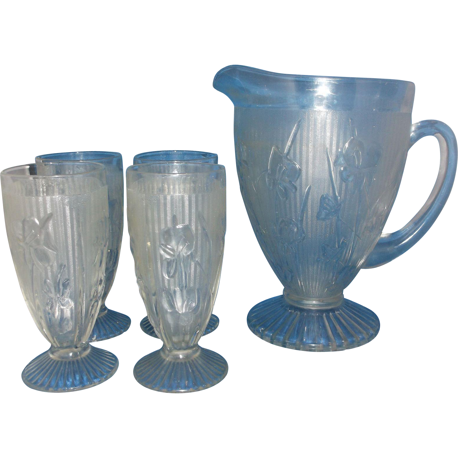 Jeannette Iris & Herringbone Footed 56 OZ Water Pitcher Four Footed Tumblers Set