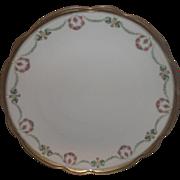 MZ Austria Moritz Zdekauer Porcelain Charger Chop Plate Pink Roses Wreath Green Flower Swags Gold Trim