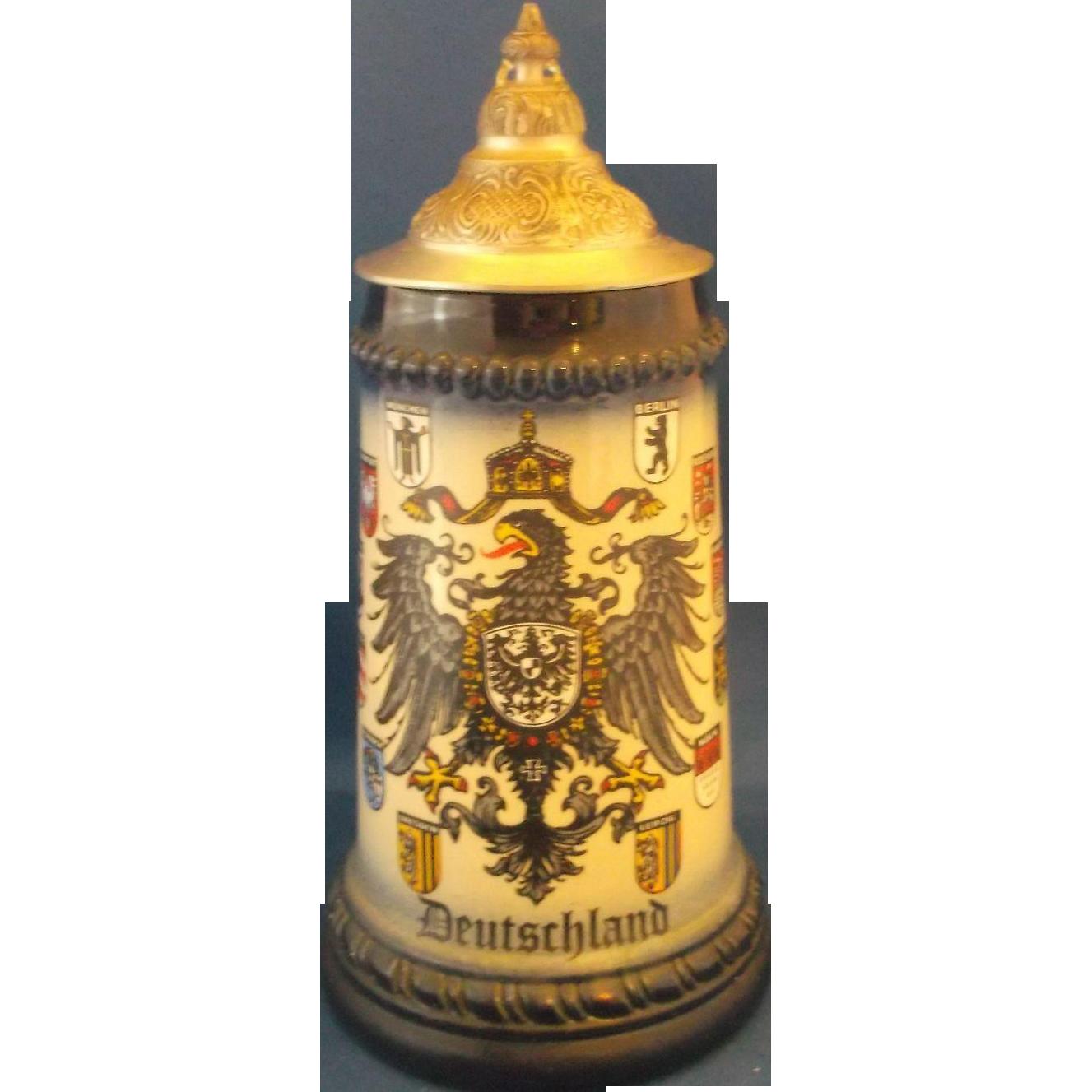 Deutschland Eagle Crests Pewter Lid Blue Stoneware Stein West Germany King Half Liter