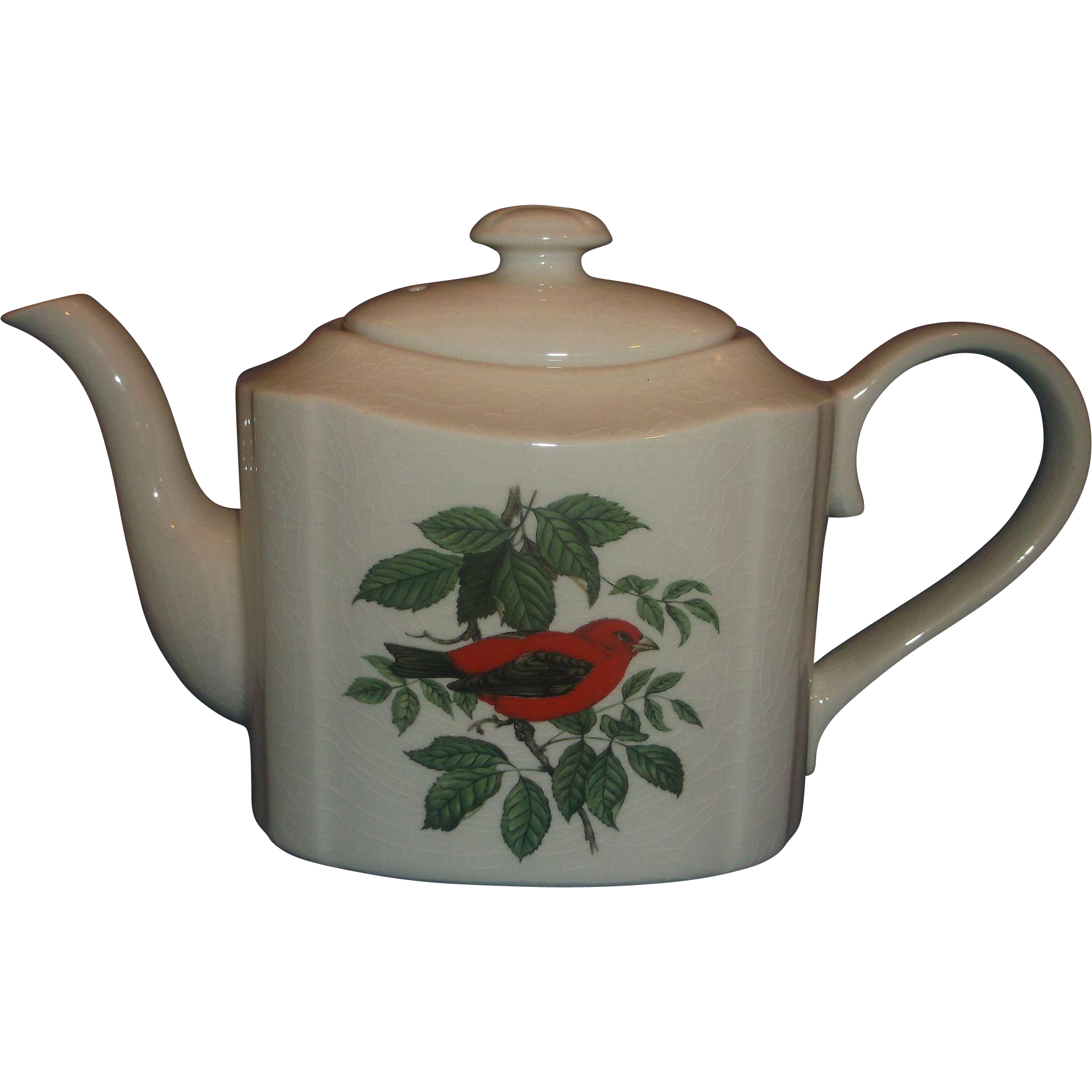 Red Bird House of Goebel Arthur Wood Staffordshire England Teapot Rectangular Scarlet Tanager