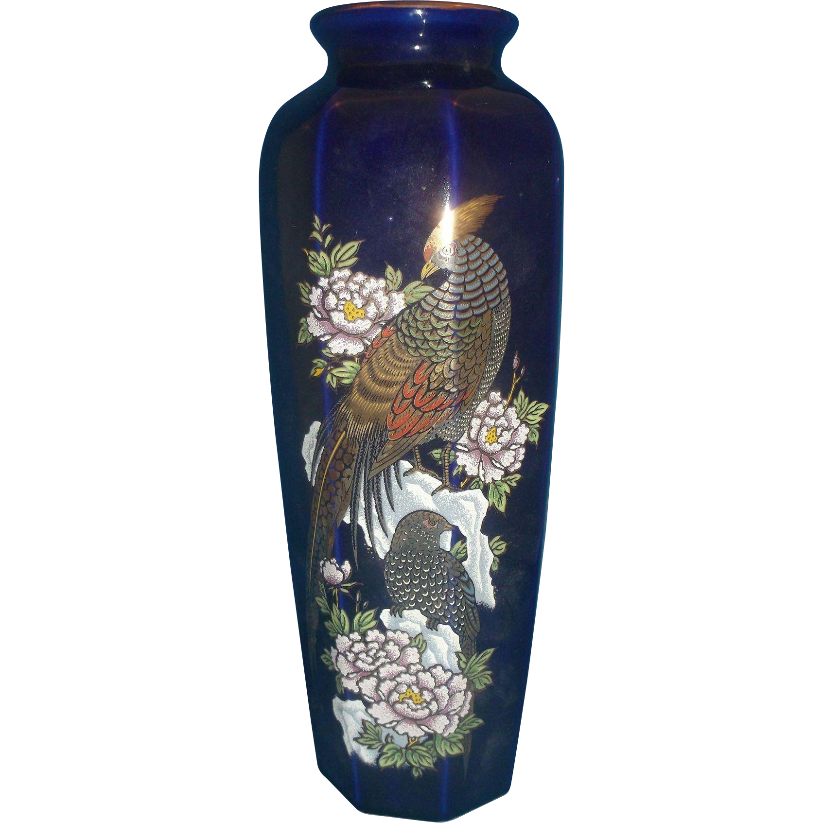 Cobalt Blue Tall Paneled Vase Pheasant Peonies Gilded Paneled Vase Himark Japan