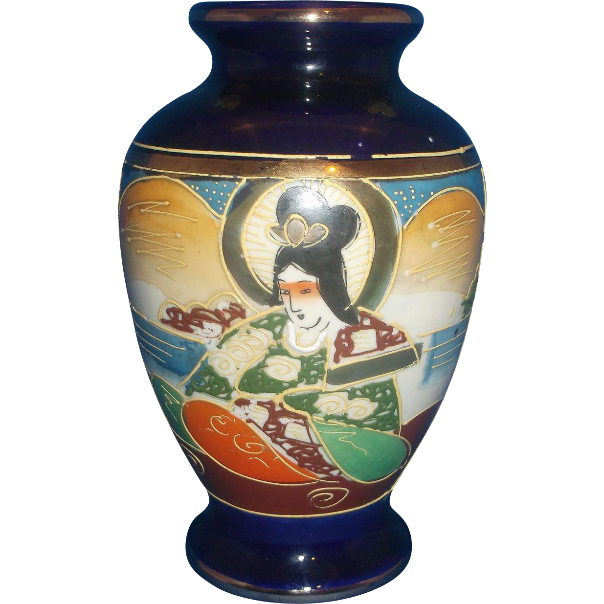 Cobalt Blue Hand Painted Enameled Japan Geisha Vase Cherry Blossom Mark 1920s