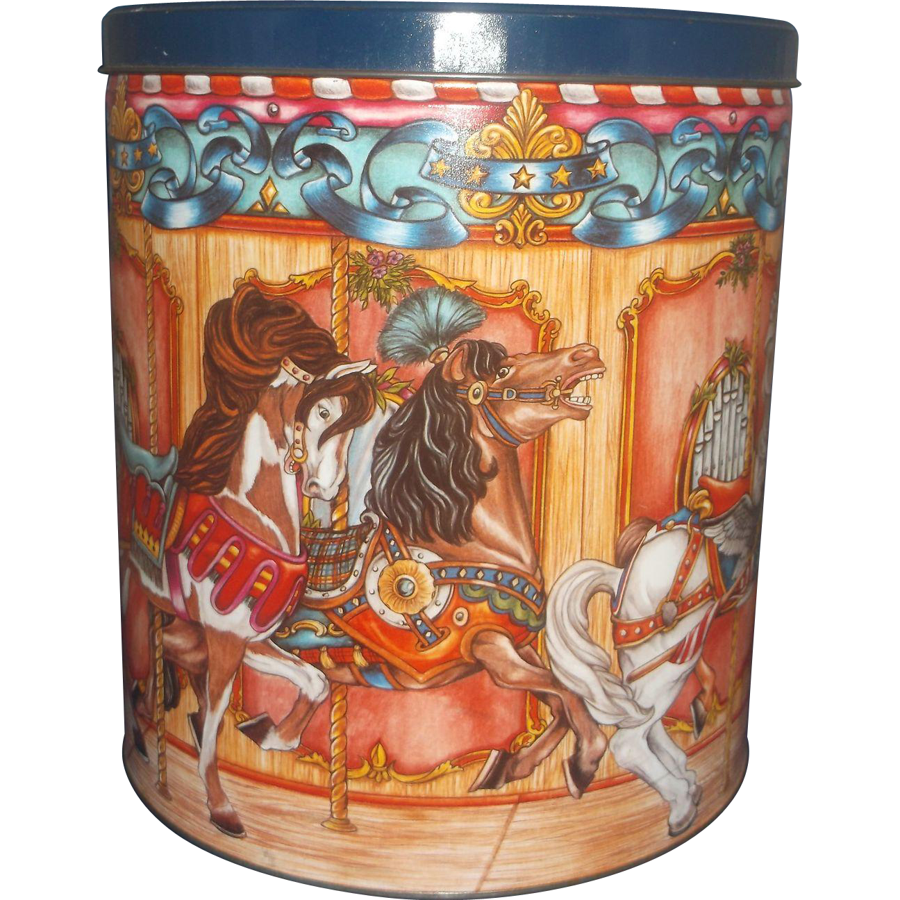 Merry Go Round Carousel Horses Frito Lay 3 in 1 Tin Doritos Fritos Rold Gold 1994 Large 11 IN