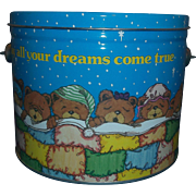 Sleeping Teddy Bears Dreams Come True Deco Tin Pail Lid Wire Bale Handle