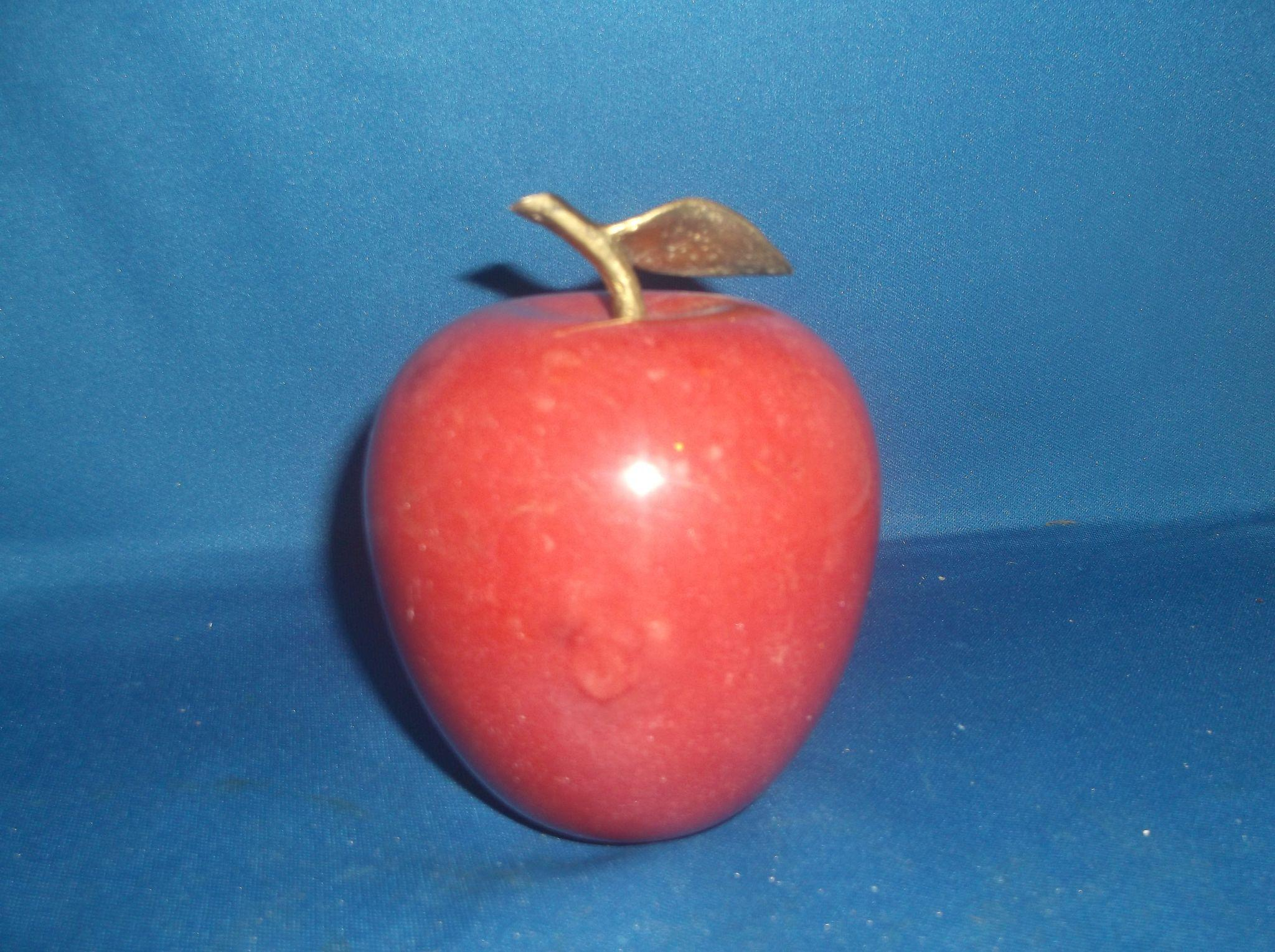 Red Carved Stone Fruit Paperweight Apple Brass Stem Leaf