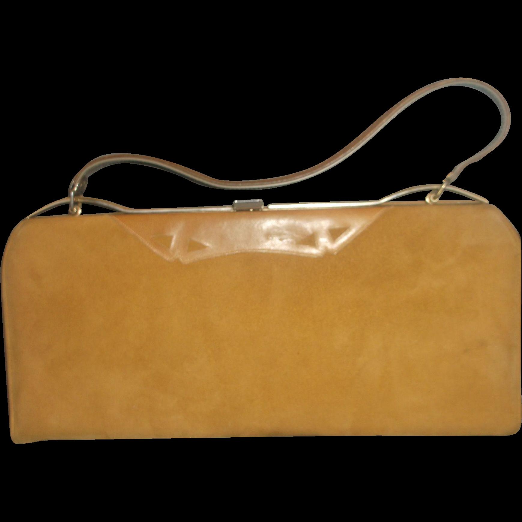 Life Stride Camel Brown Simulated Suede Purse Handbag