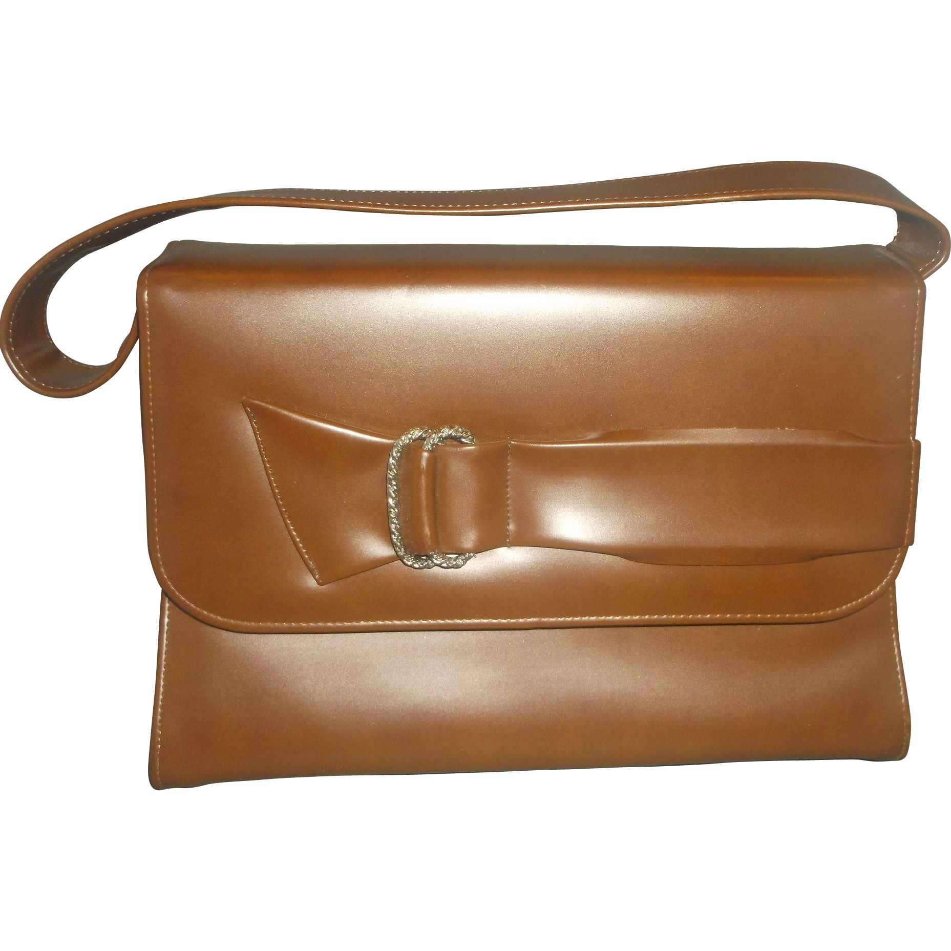 Naturalizer Brown Vinyl Handbag Bow Front