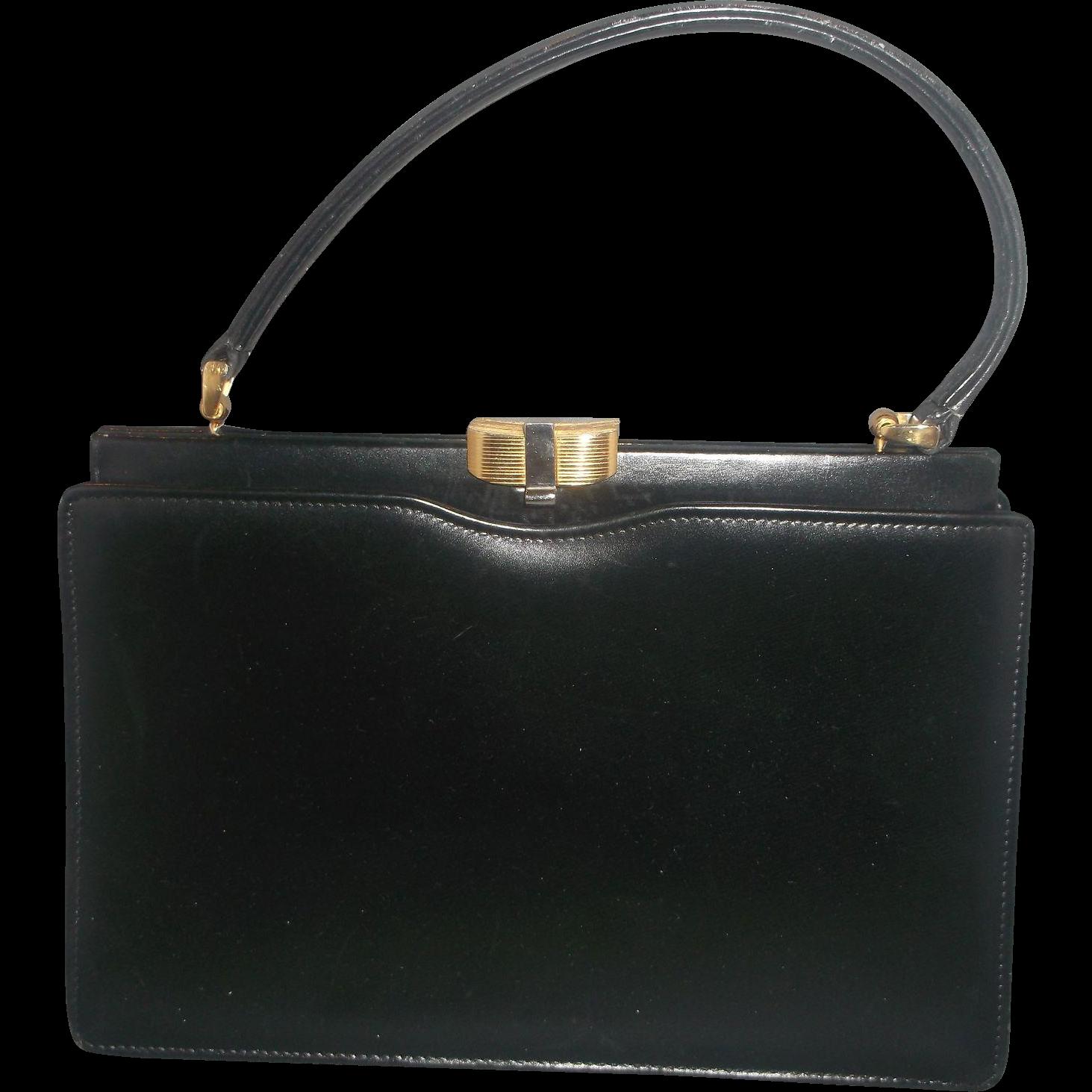 Wm H Block Black Leather Handbag Red Leather Lining Italian 1950s-60s