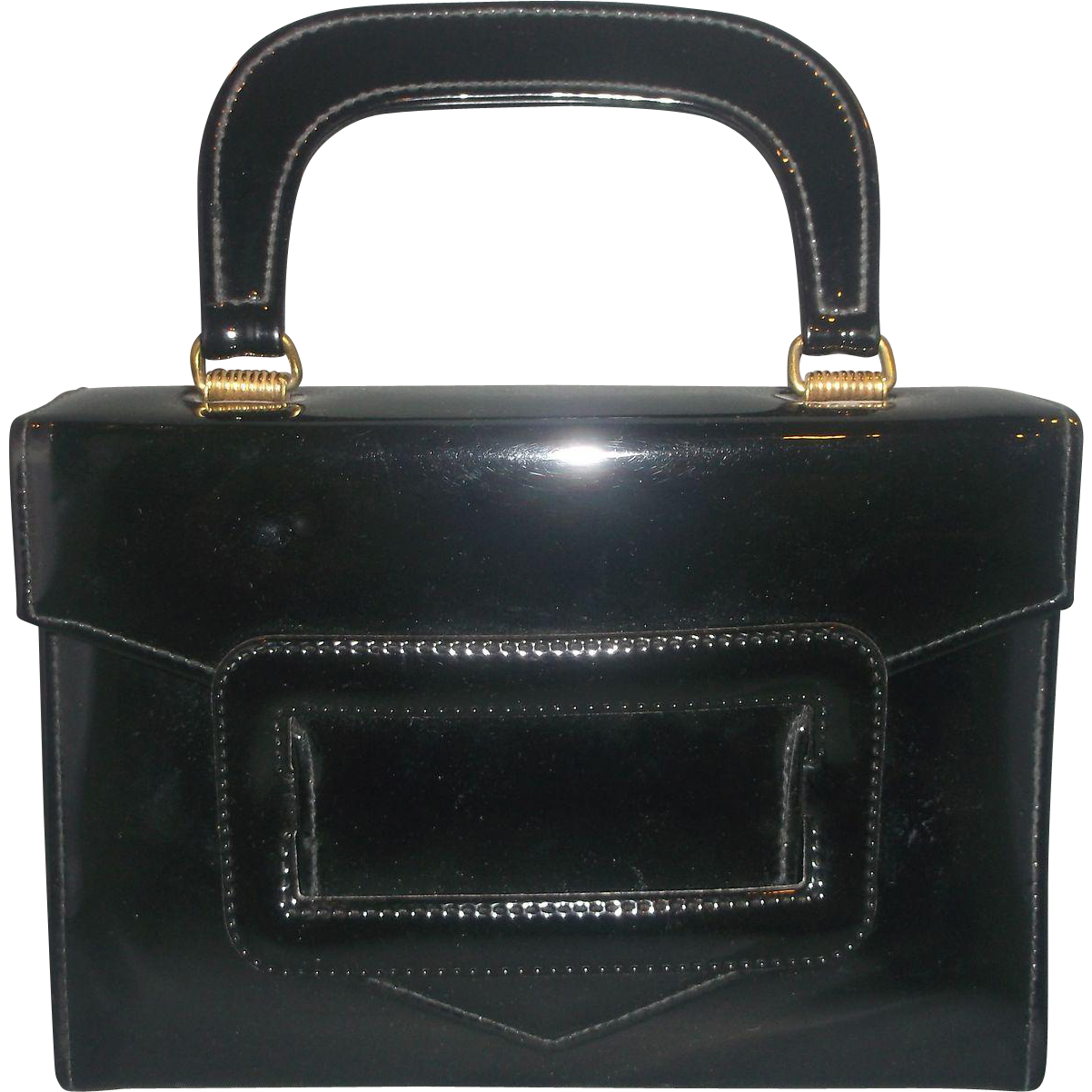 Black Patent Box Purse Structured Small Buckle Front Detail
