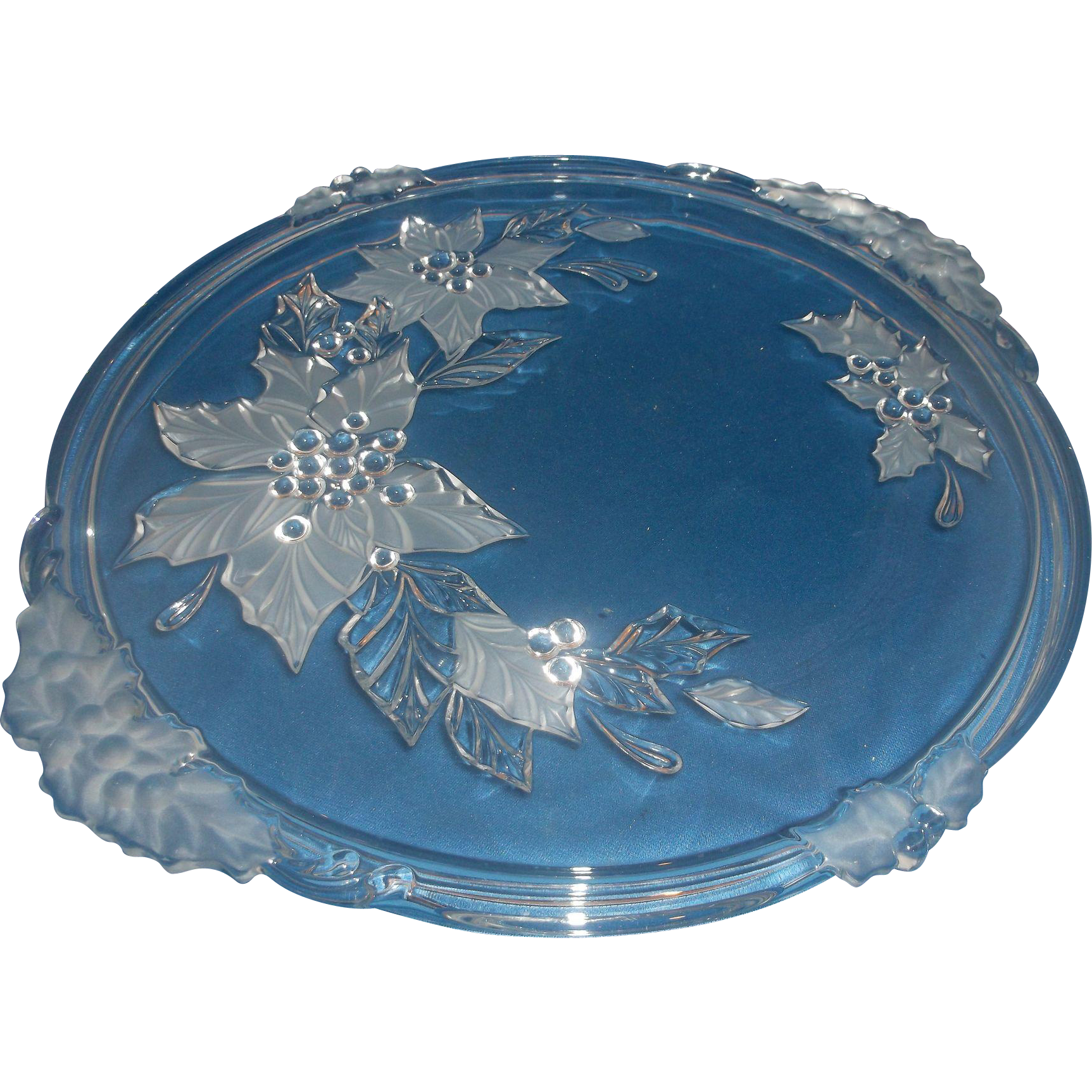 Mikasa Poinsettia Crystal Cake Plate Handles Frosted Flowers