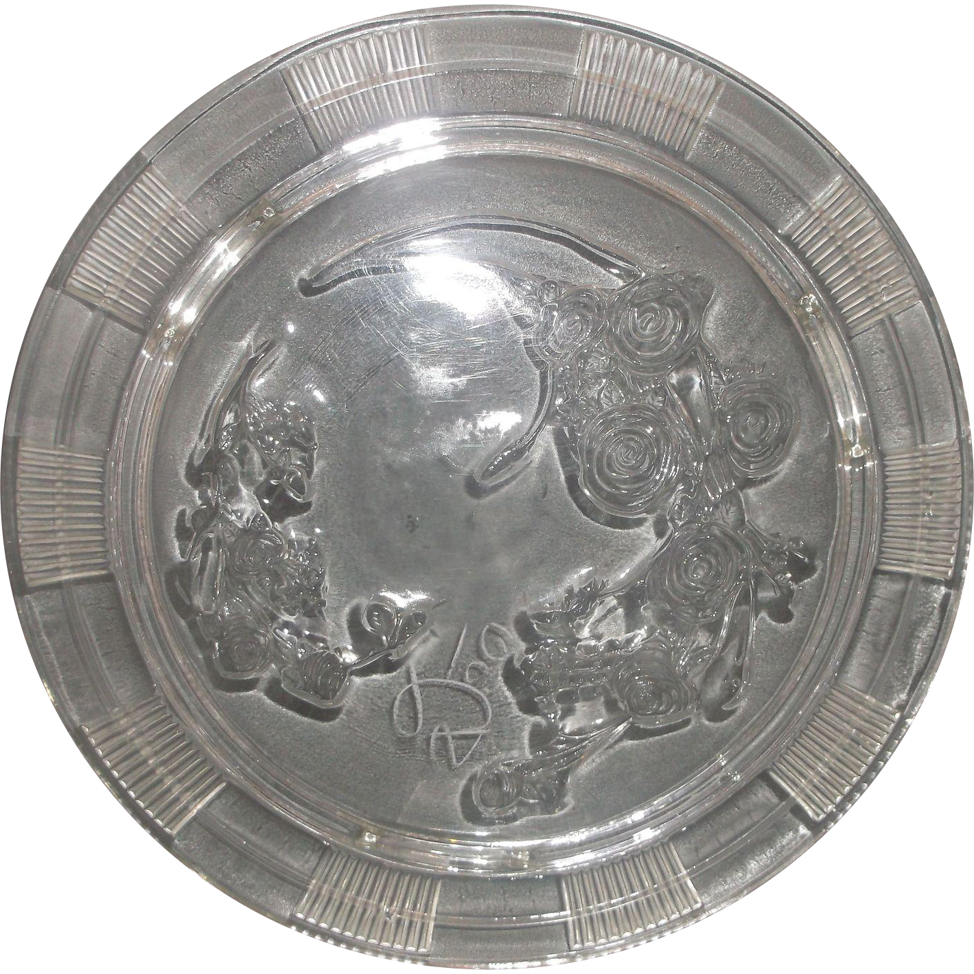 Sharon Rose of Sharon Clear Depression Federal Glass Footed Cake Plate