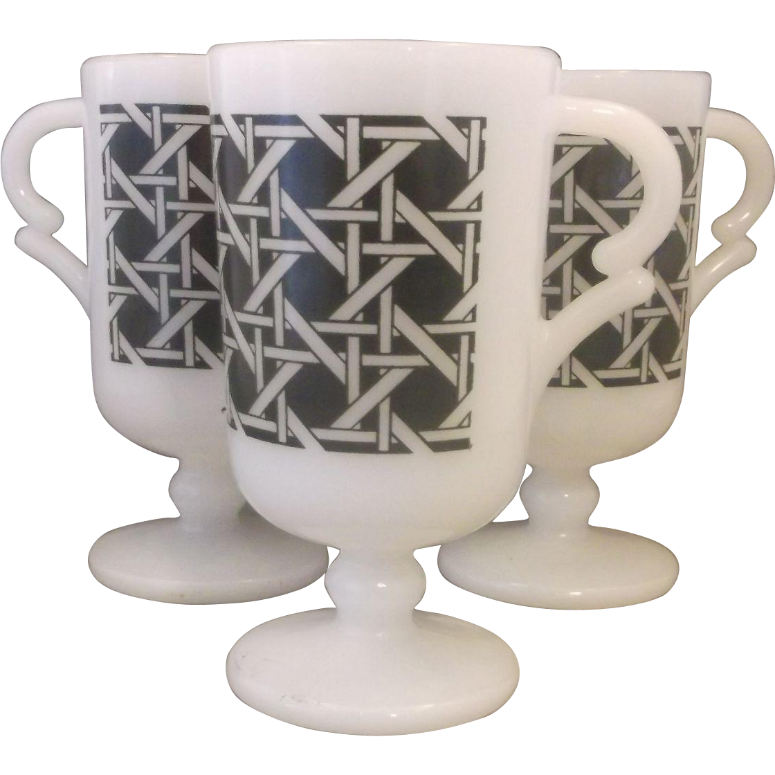 Federal Glass Pedestal White Milk Glass Mugs Black Woven Cane Decoration