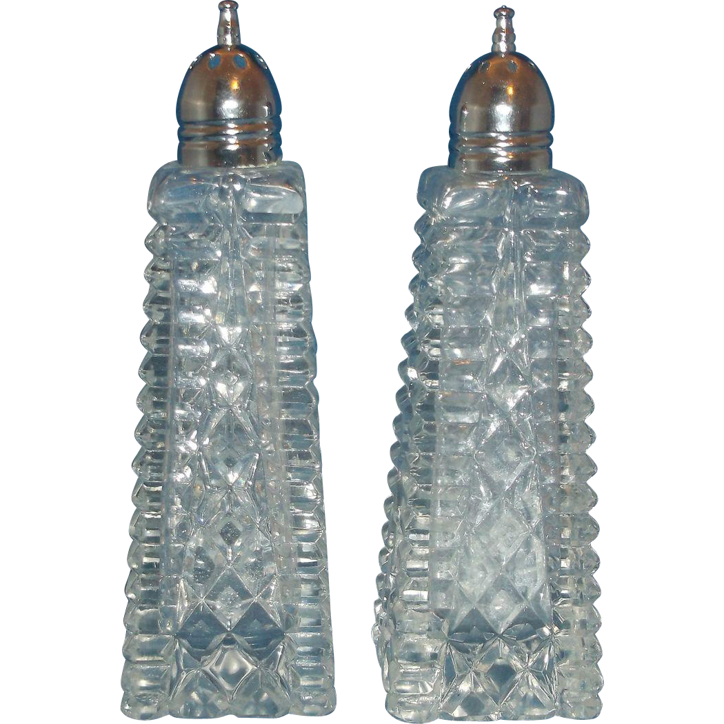 Cut Crystal Block Diamond Salt Pepper Shakers