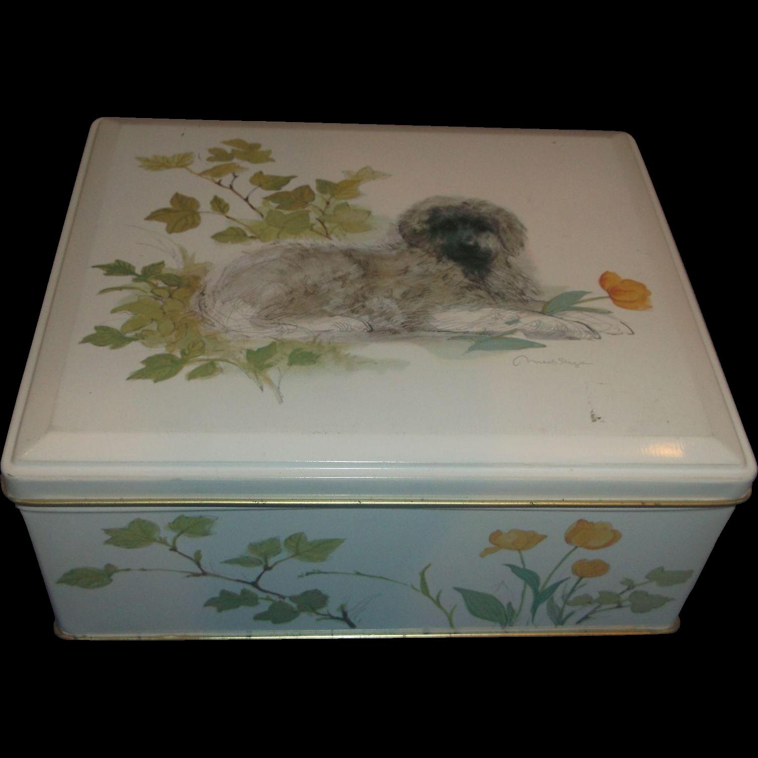Dog Art Tin Box Hinged Lid Made in England