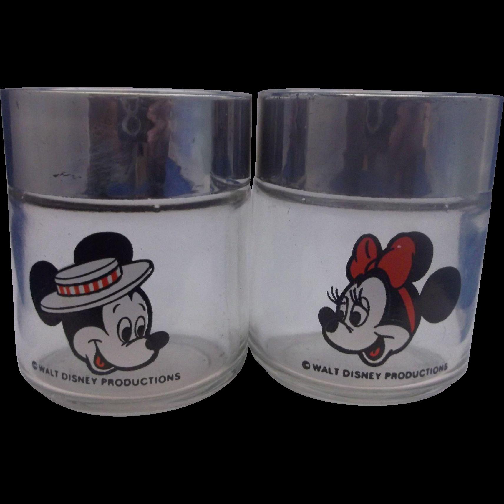 Mickey Mouse Minnie Mouse Walt Disney Glass Salt Pepper Shakers Houze Disneyland