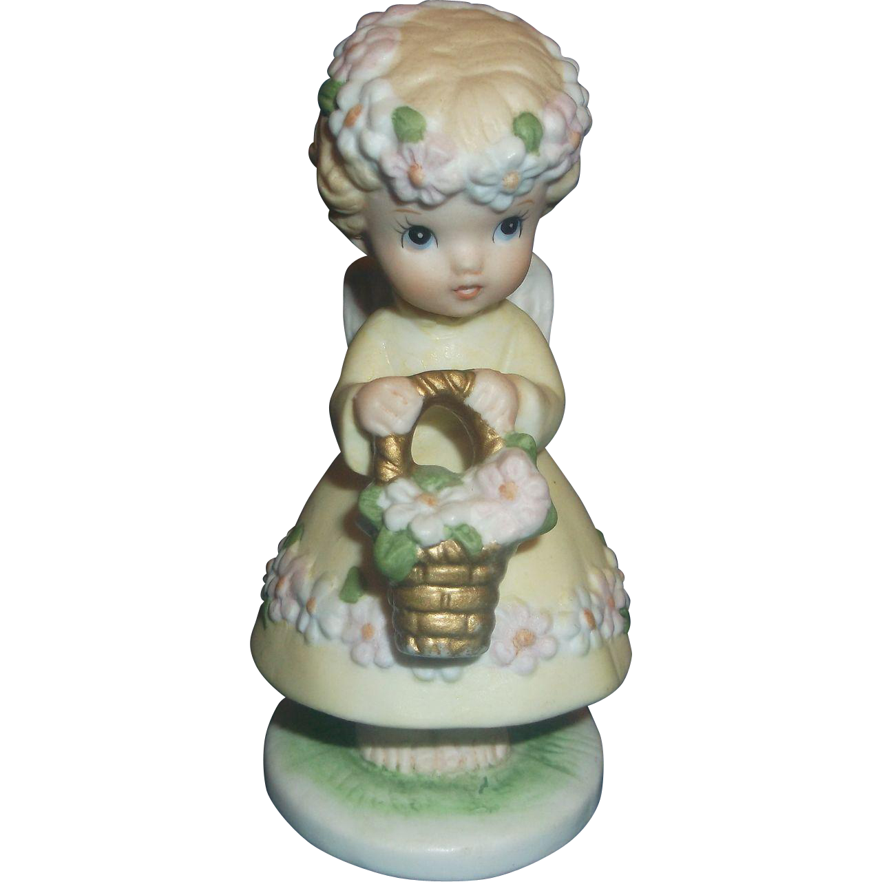 Eve Rockwell Hand Painted Angel Flower Girl Porcelain Figurine George Good Corp