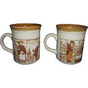 Biltons Ltd England Brown Pottery Mugs Street Market Scenes Village Shops