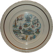 Vermont State Souvenir Plate Gadroon Rim Gold Trim