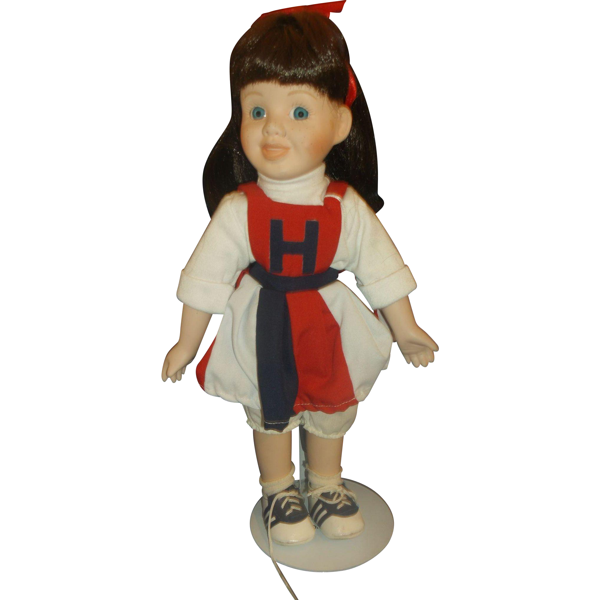 Heritage Mint Cheerleader Doll Red Blue Dress Brown Hair 1994 14 In Porcelain