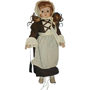 House of Lloyd Pilgrim Colonial Brown Dress Blonde Porcelain Bisque Doll 1990 16 IN