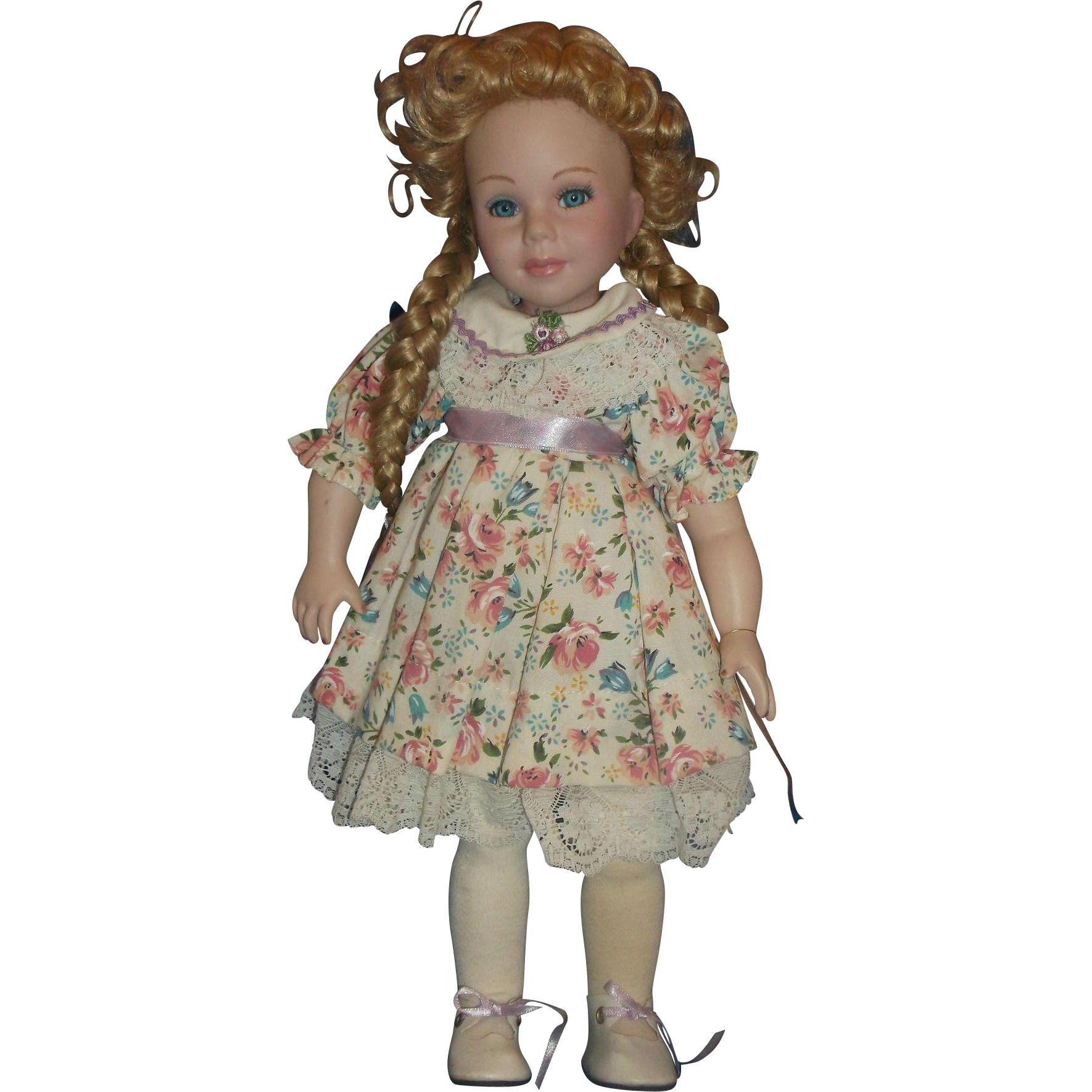 Treasures in Lace Porcelain Doll Blonde Hair Braids Curls 14 IN