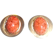 Coral Art Glass Speckled Easter Egg Oval Gold Tone Clip Earrings