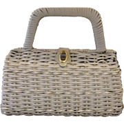 Hong Kong White Wicker Leather Trim Purse Handbag