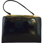 Mastercraft Canada Black Patent Leather Trapezoid Purse Gold Tone Frame
