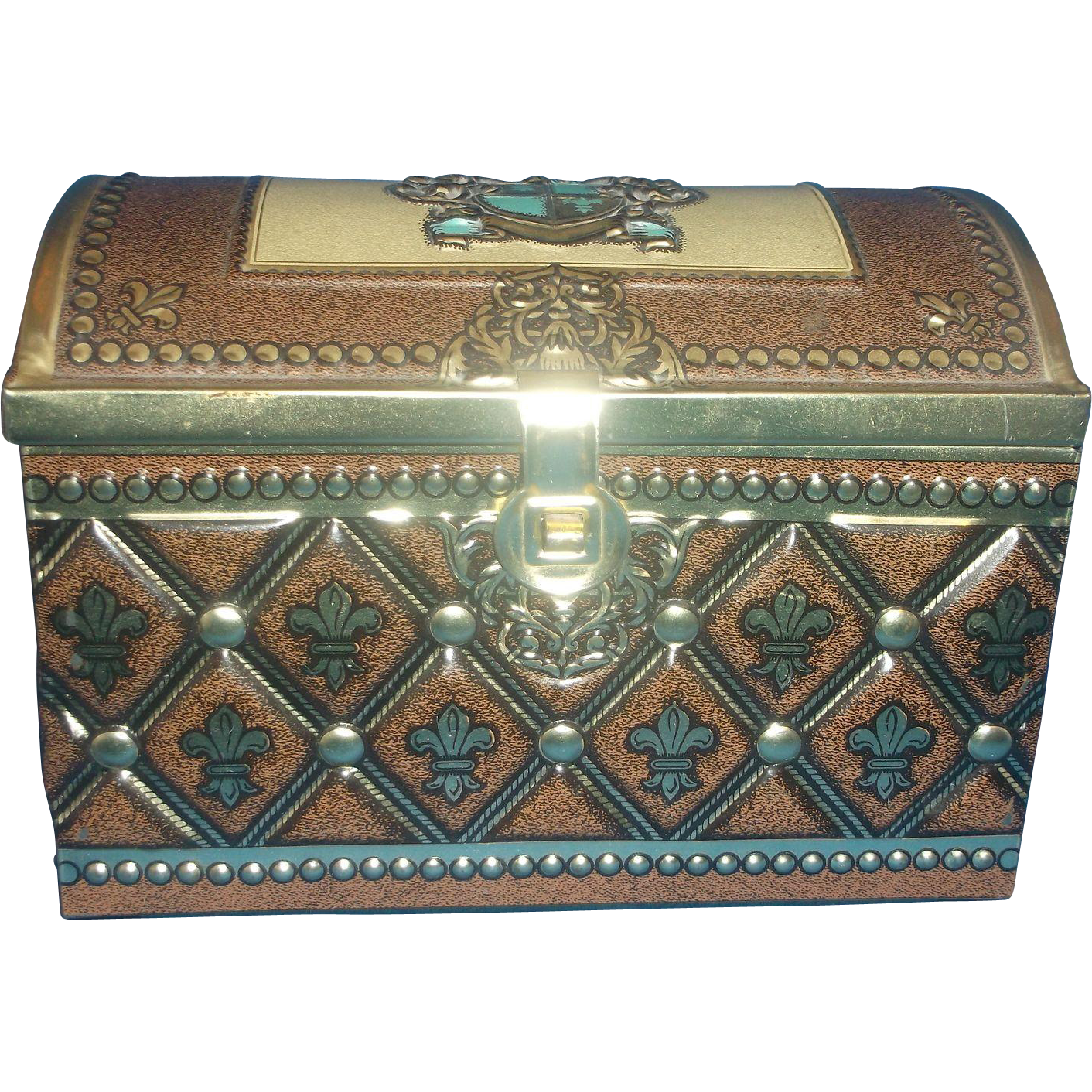 Tin Treasure Chest Box Western Germany Gold Brown Turquoise Shield