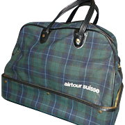 Airtour Suisse Blue Green Plaid Carry On Overnight Bag Satchel Luggage