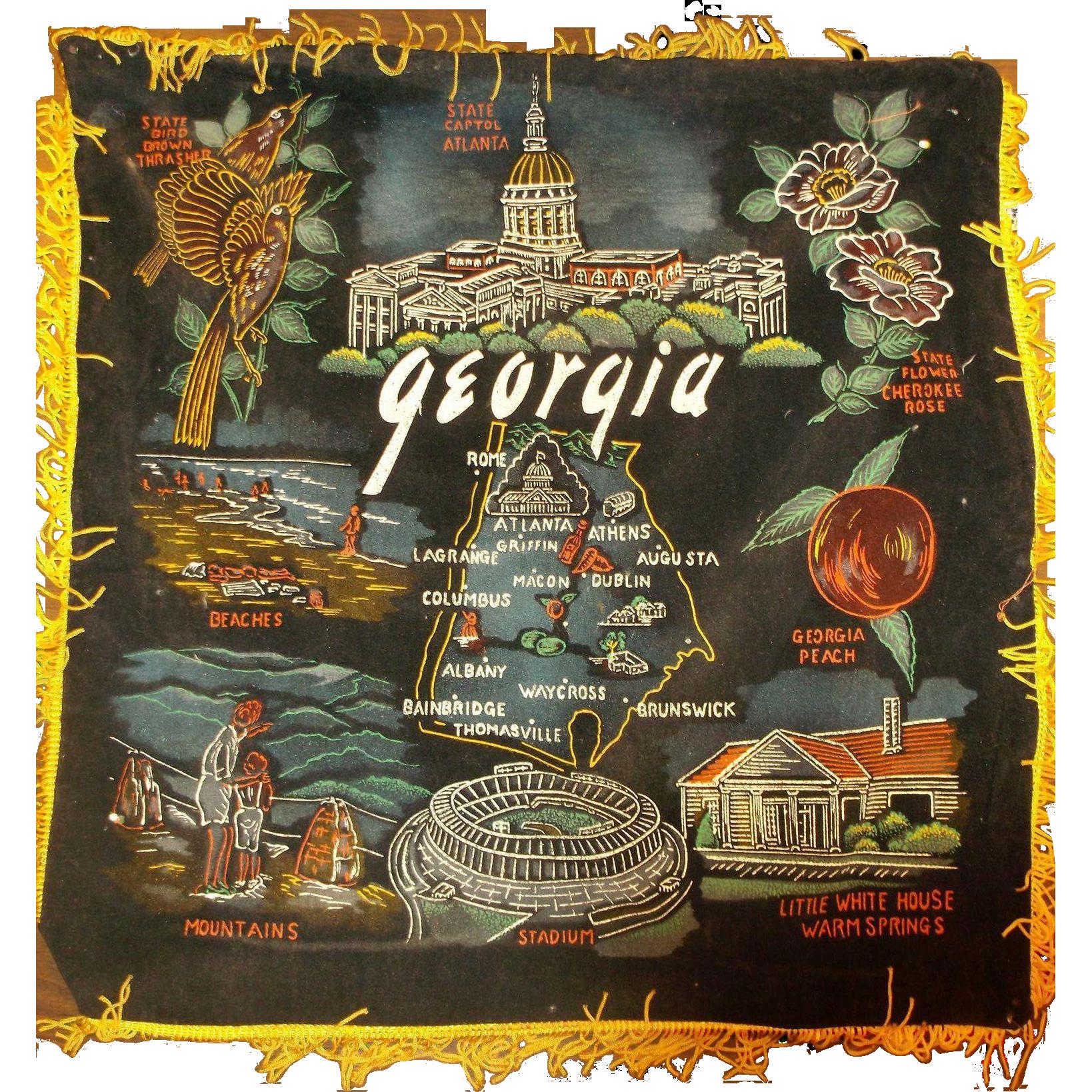 Georgia Hand Painted Black Velvet Souvenir Pillow Case Pillow Cover 1960s Made in Japan Goldenrod Fringe