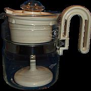 Gemco Heat Resistant Glass Cream Plastic Coffee Percolator 2 Cup