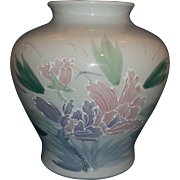 Japan Hand Painted Huge Vase Lavender Pink Flowers Green Leaves White Enamel Moriage Outlines