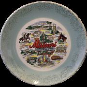 Missouri Show Me State Souvenir Plate Aqua Gold RIm