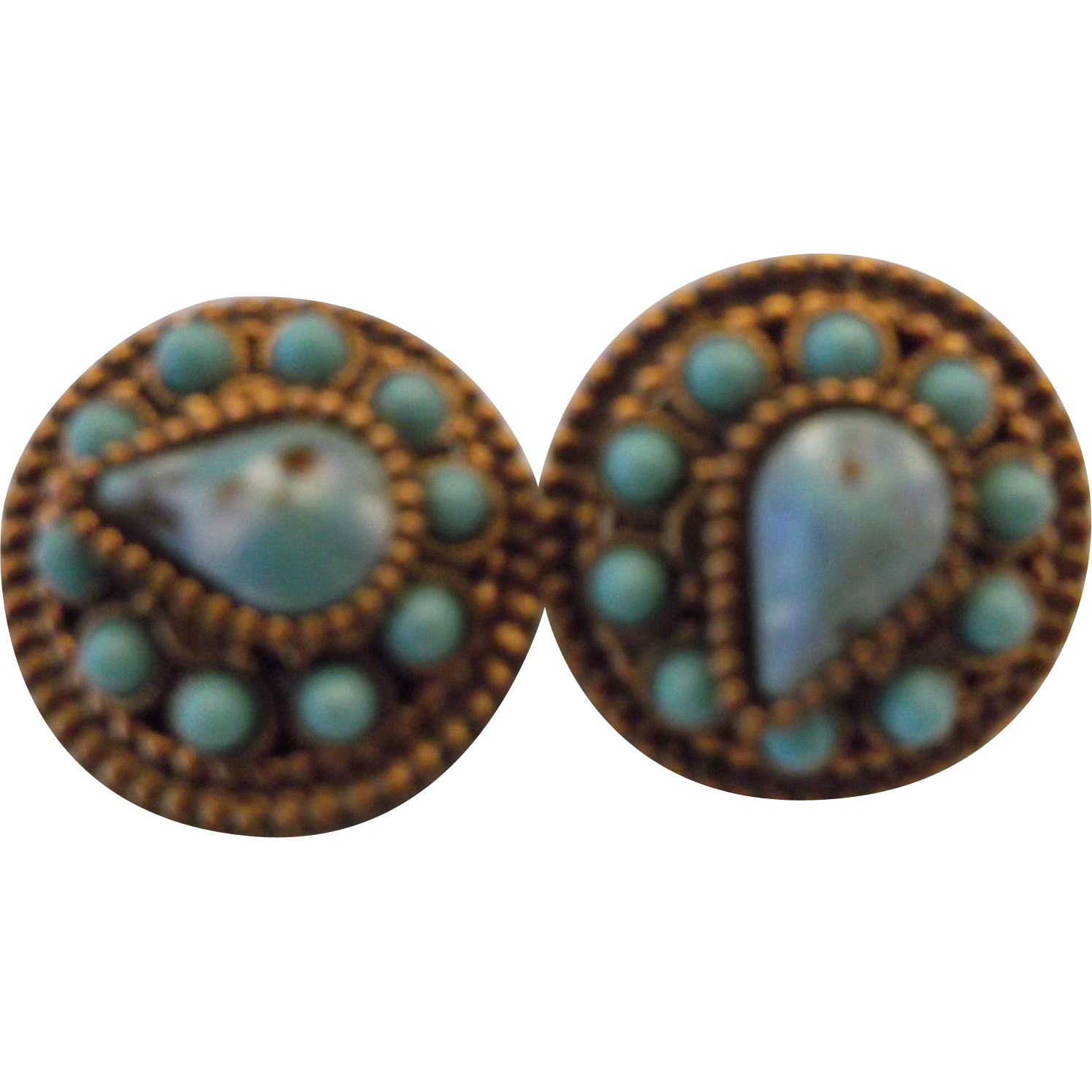 Copper Circle Screwback Earrings Turquoise Plastic Pear Round Cabs
