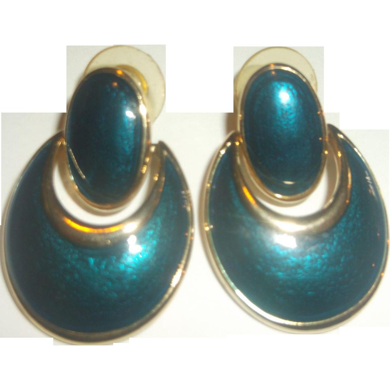 Deep Blue Green Enamel Doorknocker Oval Drop Earrings Gold Tone Post Backs