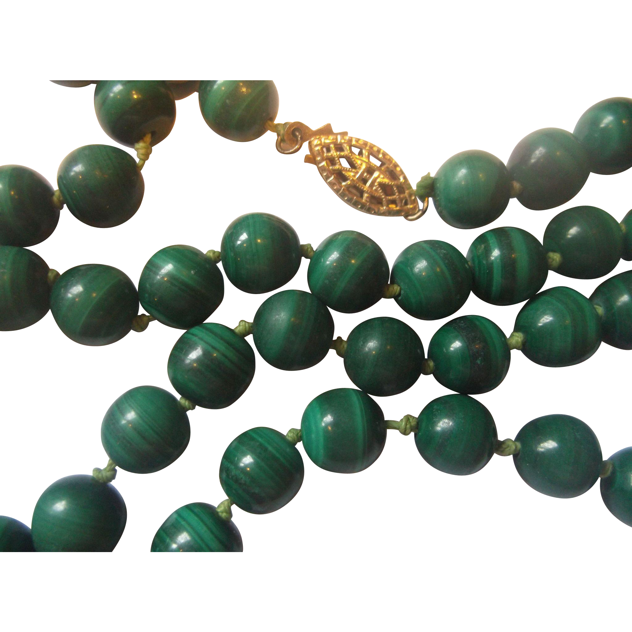 Malachite Green Round Beads Necklace 14K 1/20 GF Clasp