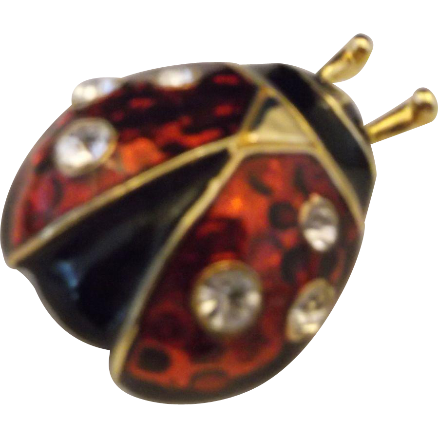 Ladybug Pin Brooch Black Red Enamel Clear Rhinestones Gold Tone