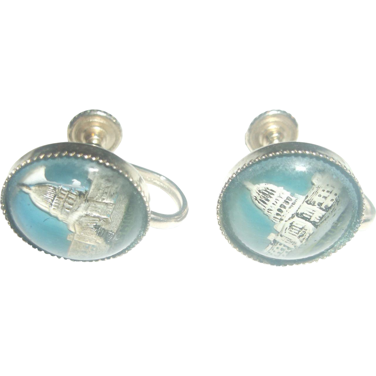 US Capitol Building Washington Glass Domed Intaglio Screwback Earrings Souvenirs