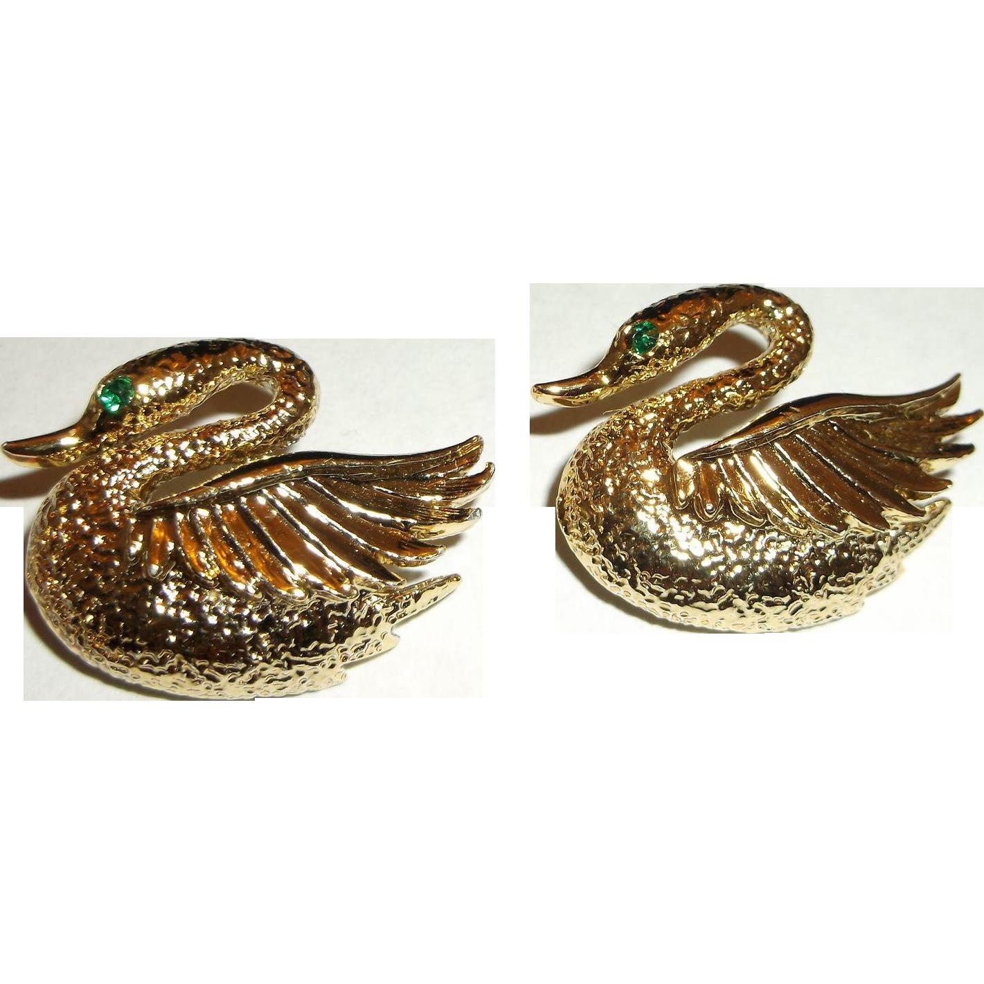 Swan Scatter Pins Gold Tone Emerald Green Rhinestone Eyes