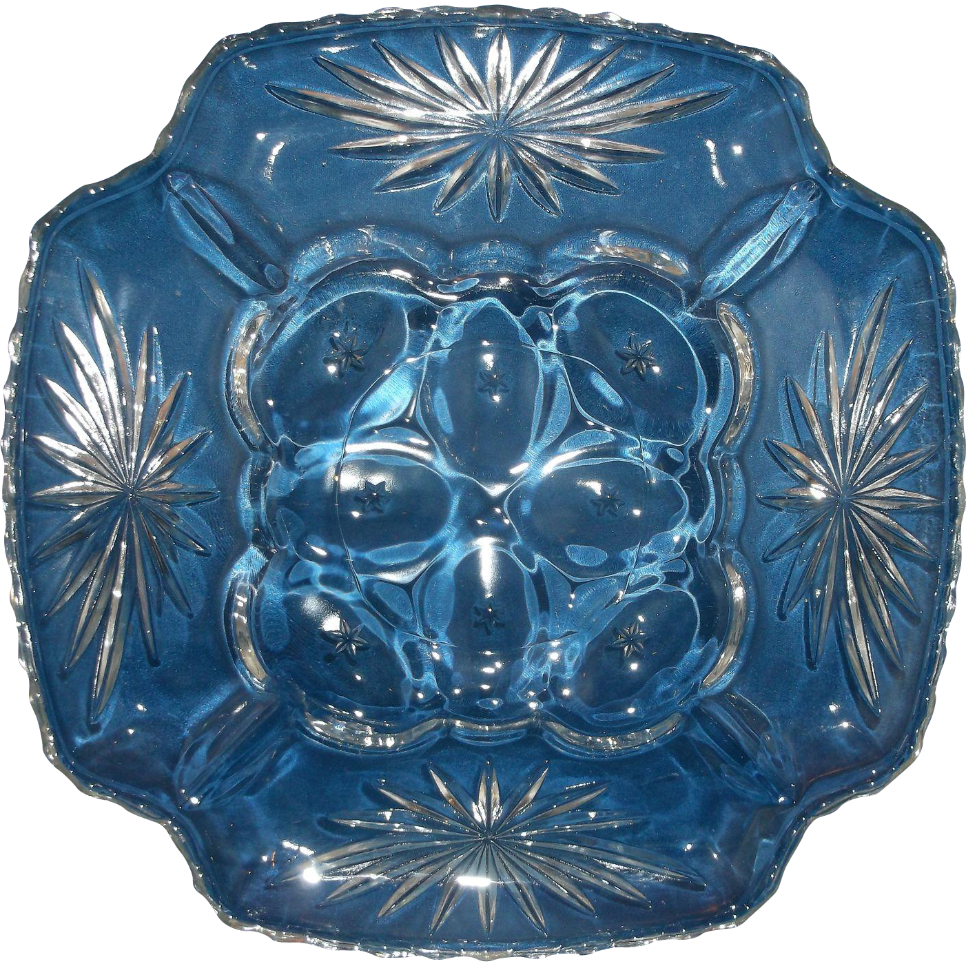 Anchor Hocking Early American Prescut Deviled Egg Plate Clear Glass