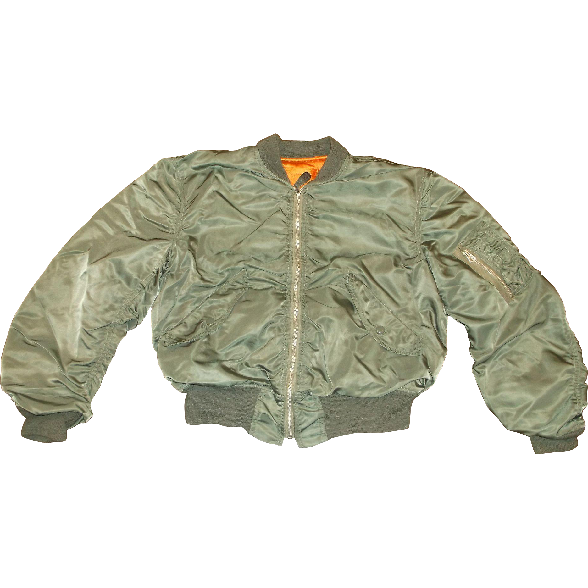 MA-1 Authentic Bomber Flight Jacket Alpha Industries 1972 Vintage Sage Green Nylon