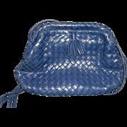 Deep Blue Indigo Woven Italian Leather Shoulder Bag 1980s Serena