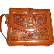 Tooled Leather Shoulder Bag Flowers Front Mayan Calendar Back Mexico Western - Red Tag Sale Item