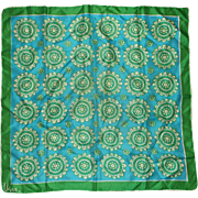 Vera Blue Green Silk Blend Scarf Abstract Floral 25 IN