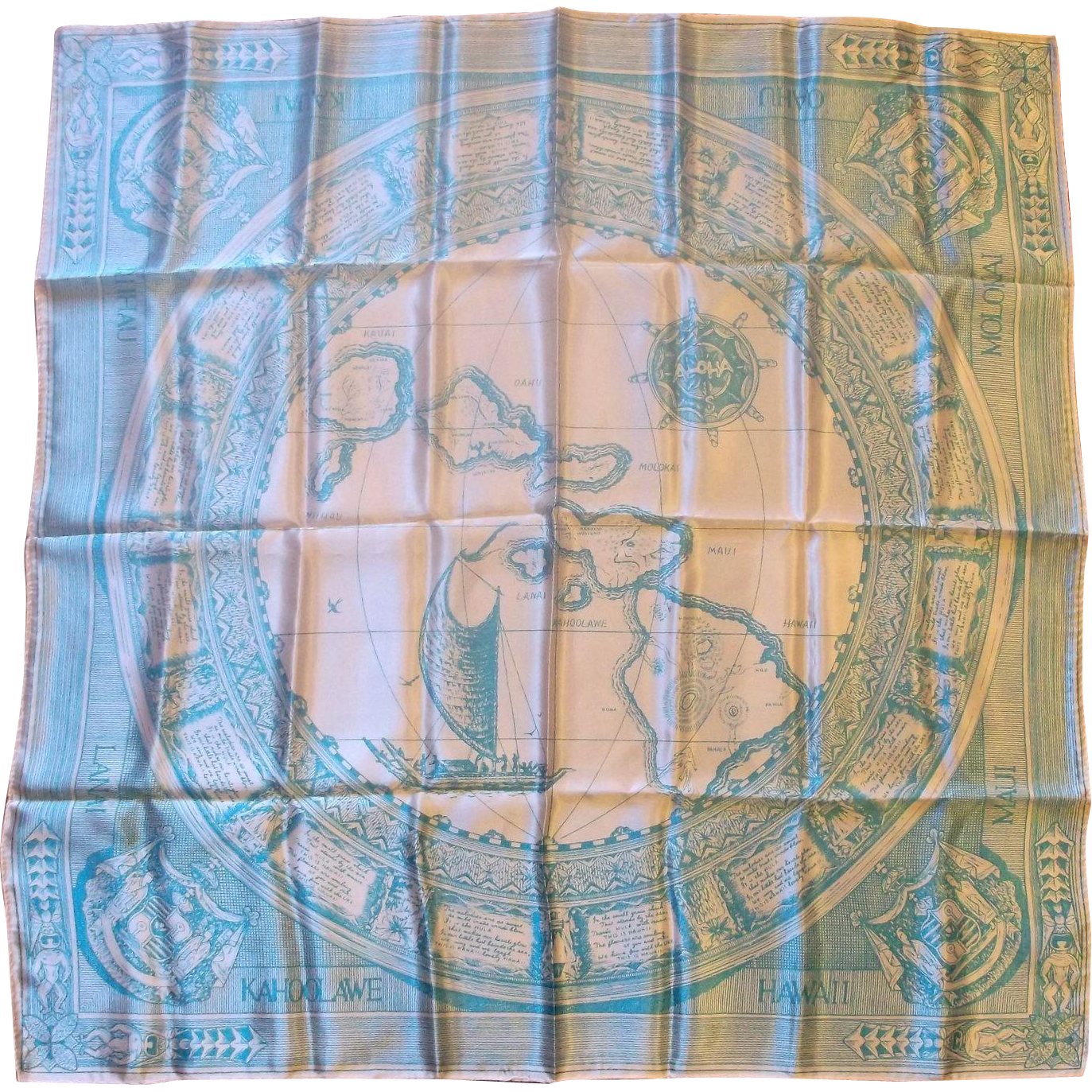 Hawaii Souvenir Travel Map Scarf Acetate Made in Japan Blue White 30 IN.