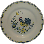 Nikko Early Bird Dinner Plate Blue Yellow Rooster White Ironstone