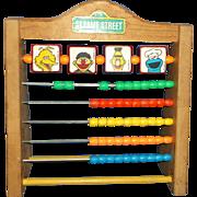 Vintage Sesame Street Toy-Wooden Abacus Big Bird Ernie & Bert Cookie Monster Muppets Plastic Beads Red Yellow Blue Green